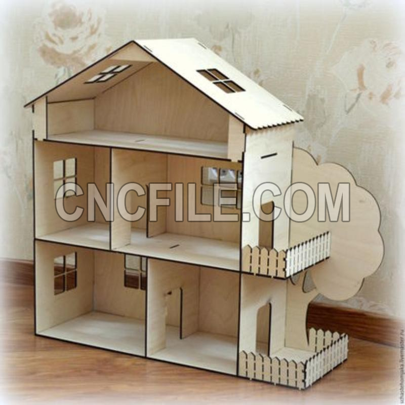 Cnc File Dollhouse Kit Laser Cut Template 4mm Free Vector